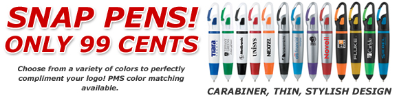 Snap Pens! Only 99 Cents. Choose from a variety of colors to perfectly compliment your logo! PMS color matching available.